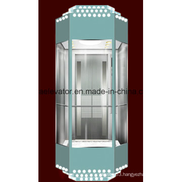 Panoramic Elevator with Etching Decoration (JQ-A029)