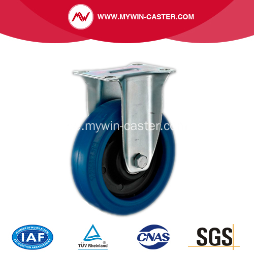 4 '' Plate Fixed Blue Elastic Rubber Caster