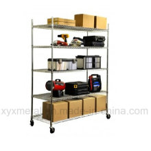 Chrom Stahl Mobile Wire Shelf