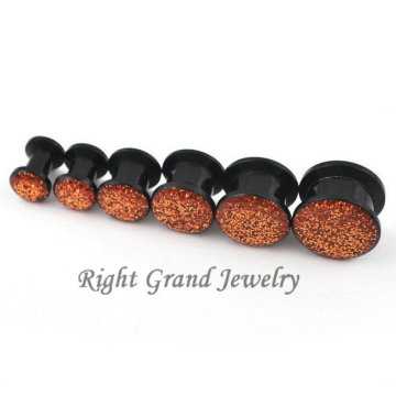Negro acrílico piercing joyas glitter internamente roscado Ear Plug