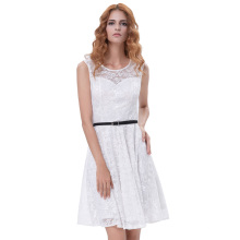 Grace Karin Women Sleeveless Crew Neck Floral Lace Flared A-Line White Dress With Black Belt CL010422-2