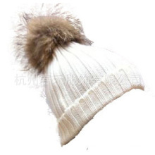 Classic Style Wholesale Unisex Wool Knit Beanie Hat with Raccoon Fur POM Poms