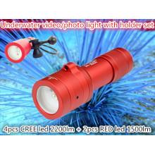 2014 Professionelle Unterwasser-LED-Video / Fotografie batteriebetriebene Video-Licht