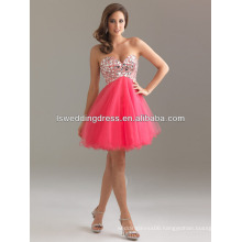 HC2059 Sexy strapless sparkly glass diamond beaded with tulle mini sassy cocktail dresses