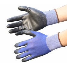 NMSAFETY 18g nylon gloves blue pu coated hand gloves for touch screen phones