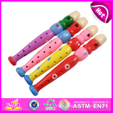 2015 Colorful Wooden Flute Toy for Kids, Educational Wooden Flute Toy for Children, Cartoon Wooden Flute Toy for Baby W07D011