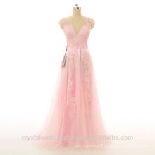Alibaba Elegant Applique Lace Pink Pageant Beach Evening Dresses New Designer V Neck Zipper Gowns LE02