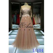 2016 Spanien nagelneuer Entwurf drei Viertelhülse rosafarbenes geöffnetes rückseitiges Kleid Champagner-Tullespitze-Abendkleid