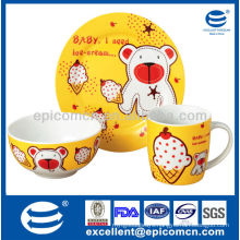 3Pcs porcelain breakfast set BC8027 plate&bowl&mug wholesale