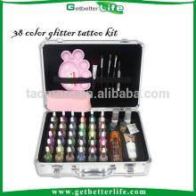 Luxo Getbetterlife 38 gliter tinta/4 cosméticos escova/3 cola/42 reutilizável estêncil do tatuagem, tatuagem do brilho para crianças