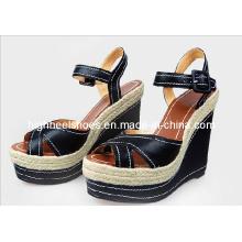 Fashion High Heel Black Women Wedge Sandals (Hcy02-567)