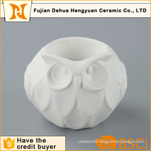 Cute Owl Shape White Ceramic Candle Holder for Home Decoration
