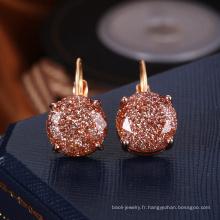 Boucles d'oreille qui respecte l'environnement d'or pour le fournisseur de cristal d'usage quotidien de filles
