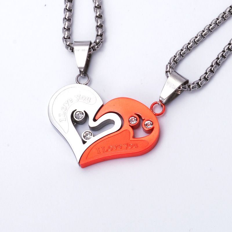 Colorful Stainless Steel Couple Lovers Fashion Heart Pendant