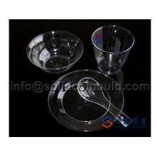 Plástico transparente uma vez usando utensílios de mesa define molde de injeção