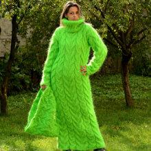 Fashion New Design 100% Hand Knit Winter Long Warm Dress