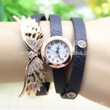 2015 El ángel de la vendimia de las nuevas mujeres de la manera se va volando el reloj pendiente BWL007 del cuarzo de la pulsera del cuero del Rhinestone