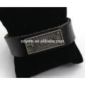 Personalizar Engraved Alloy Tag Wrap Couro Pulseira Atacado