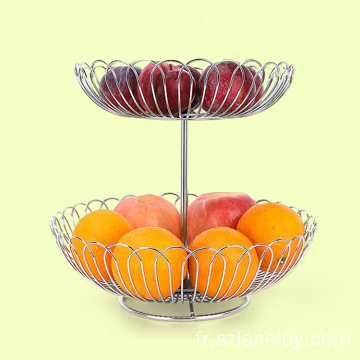 Kitchen Accessories Home Stainless Steel  Easy Installation 2-Tiered Storage Vegetable Washing Bowl Fruit Basket