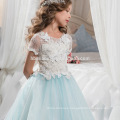 New Design Fashion White and Light Blue Color Long Flower Lace Angel Dress for Baby Girl