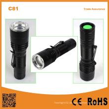C81 Portable Mini LED Zoom Taschenlampe mit Stift Clip