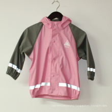 Solid Pink PU Reflective Rain Jacket for Children/Baby