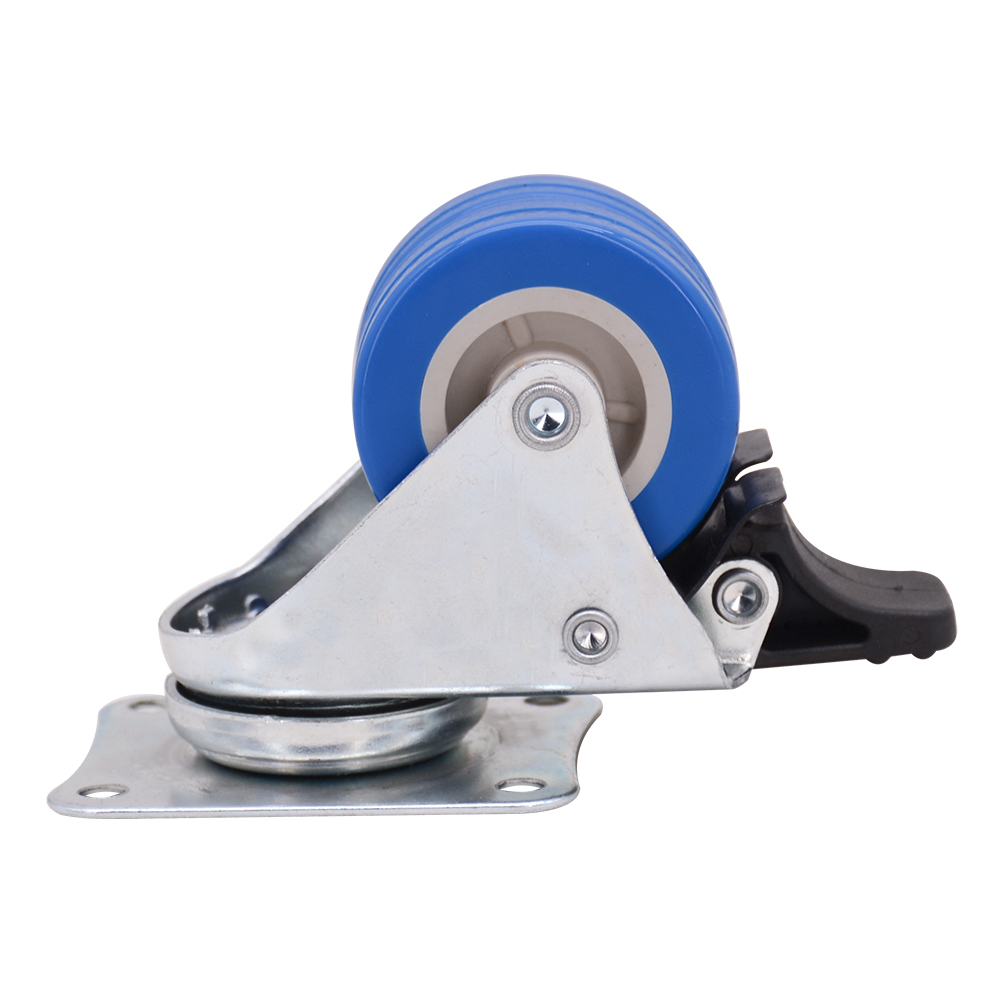 2 Inch Blue Pvc Twin Wheel Caster