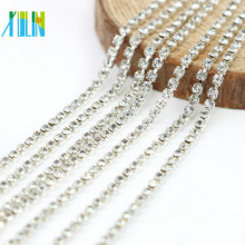 New Arrival Wholesale Crystal Color Roll Of Rhinestone Silver Close Cup Connectors Glass Chaton Chain, G0201