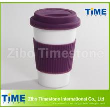 Керамическая кружка с силиконовой крышкой и рукава (TM2013-ГБ)