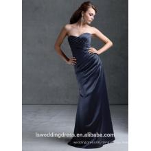 HB2101 Simple dark blue strapless sleeveless gathered satin top A-line full length zipper cheap sweetheart neck 2013 long dress
