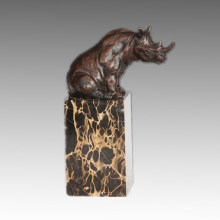 Animal Bronze Sculpture Rhinoceros Carving Brass Statue Tpal-279