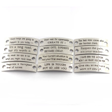 Engraved Jewelry Tags Custom Stamped Inspirational Sayings Metal Charms for Leather Bracelet