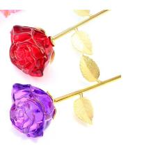 Hot Wholesale Crystal Crafts Long Stem Glass Rose Flower