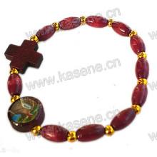 Gold Oval Wood Beaded Cross Rosary Bracelet