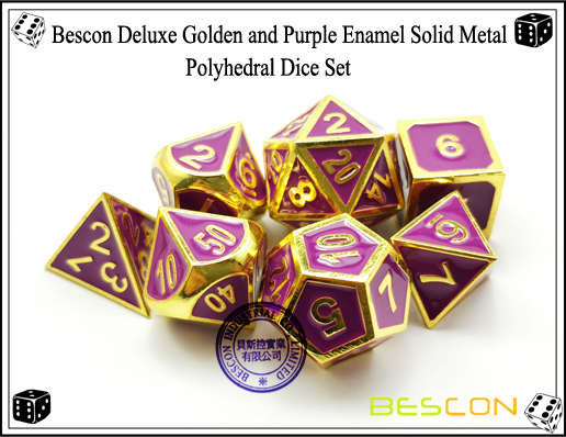 Bescon Deluxe Golden and Purple Enamel Solid Metal Polyhedral Role Playing RPG Game Dice Set (7 Die in Pack)-5