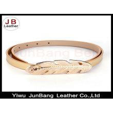 Leaf Shape Plate Clasp Buckle PU Leather Belt for Ladies Dress