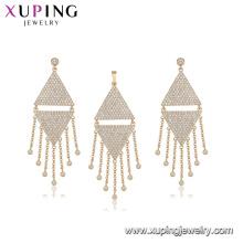 64444 fashion wholesale China luxury triangle type white diamond gold plated tassel jewelry set