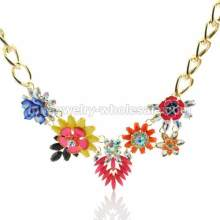 2014 Newest Colorful Round Resin Flower Charms Necklace