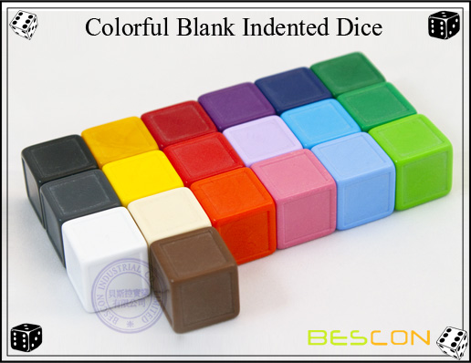 Colorful Blank Indented Dice