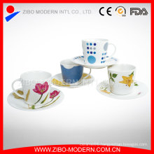 Porcelain White Cup with Saucer Coffee Mugs Cups and Saucers