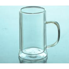High Quality Double Wall Borosilicate Clear Glass Tea Cup with Handle