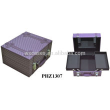 high quality purple PVC leather beauty case with a mirror&tray inside