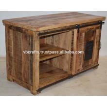 Armário de televisão industrial, mango, anexo de ferro fundido de madeira