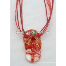 Brithday regalo Collar de cristal de Lampwork Collar de cristal de Lampwork Collar de madera de mar con cordón de cera