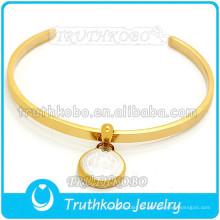 Acero inoxidable Oro San Benedicto Santo Medalla Pulsera en forma de Cristo Jesús Bendición Brazalete de acero inoxidable para mujeres