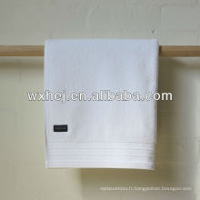100% coton bande velours hôtel blanc serviettes de bain avec broderie