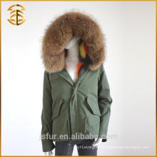 Factory Wholesale Custom Real Coats Hooded Fox Fur Parka