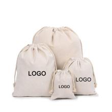 Wholesale custom eco cotton canvas natural calico drawstring bag with logo printed