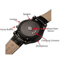 Men Style Smartwatch T2 rond en acier inoxydable Montre Bluetooth Montre Smart Android avec fréquence cardiaque