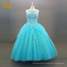 ED Bridal Elegant Ball Gown Real Sample Sleeveless Lace-Up Back Beaded Blue Quinceanera Dress